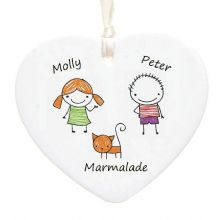 Child's Artwork Ceramic Heart - Personalised Christmas Tree Decoration